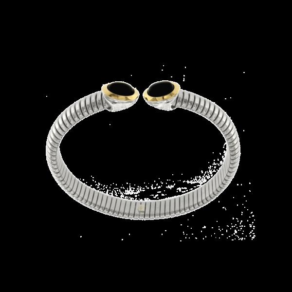 Bracciale tubogas acciaio-oro onice