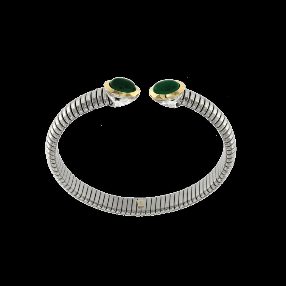 Bracciale tubogas acciaio-oro agata verde