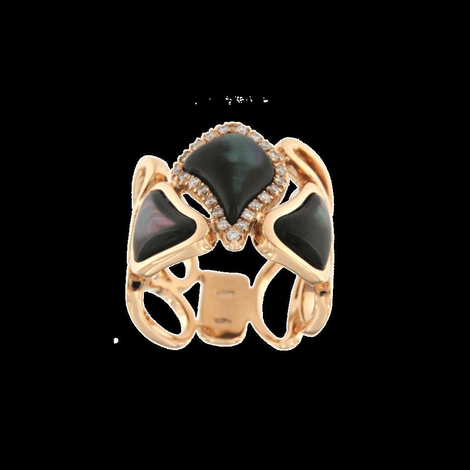 Anello cashmere modulare madreperla grigia