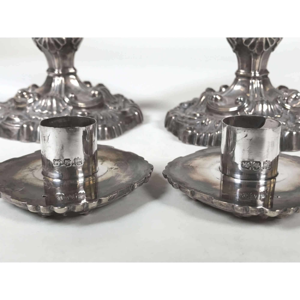 Pair of 1898 silver candlesticks