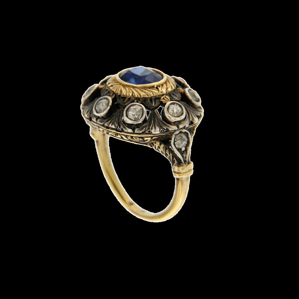 Anello con zaffiro e diamanti 1950