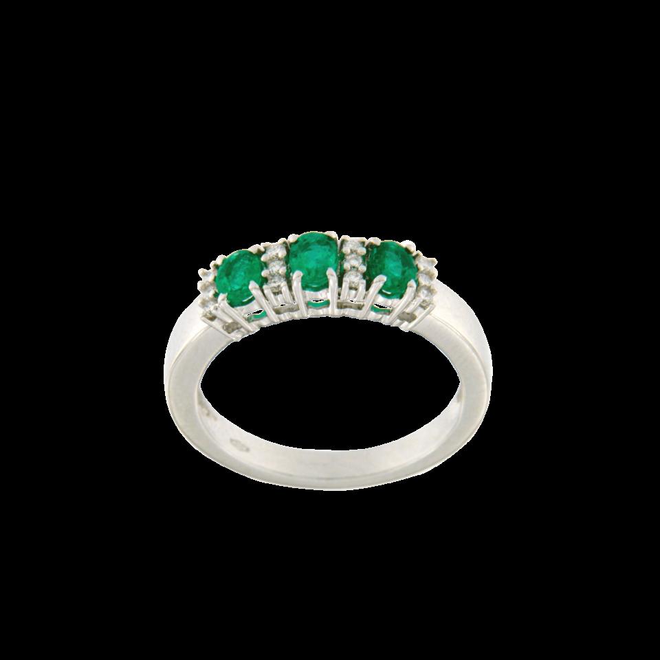Anello Trilogy color smeraldi