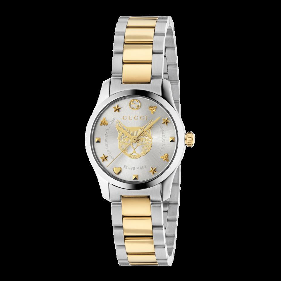 G-Timeless  watch  with yellow gold feline head motif