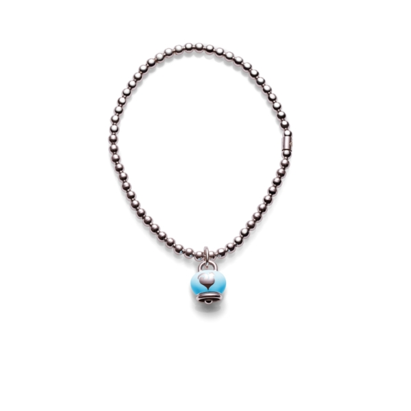 Bracelet with silver bell pendant and turquoise enamel