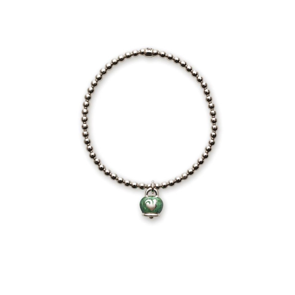 Bracciale elastico campanella smalto verde