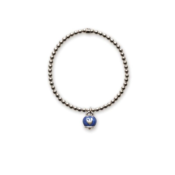 Elastic bracelet with bell pendant blue enamel