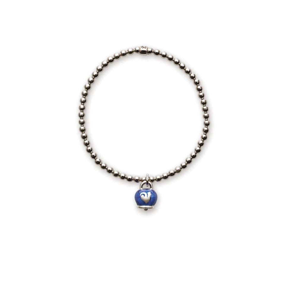 Bracciale elastico campanella smalto blu