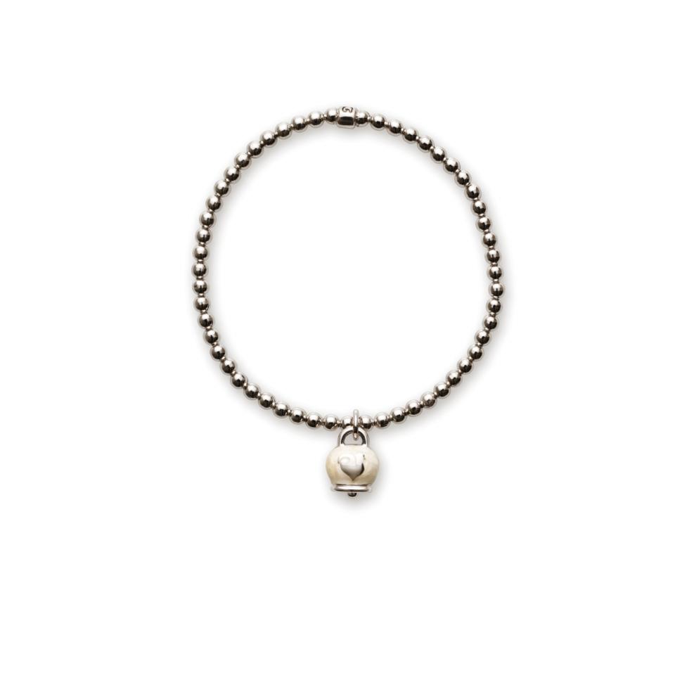 Elastic bracelet with micro bell pendant white enamel