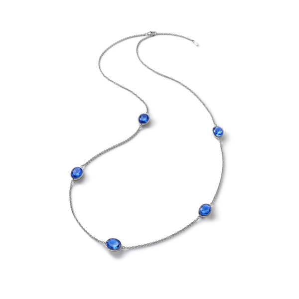 Croisè Long Necklace Blue Silver