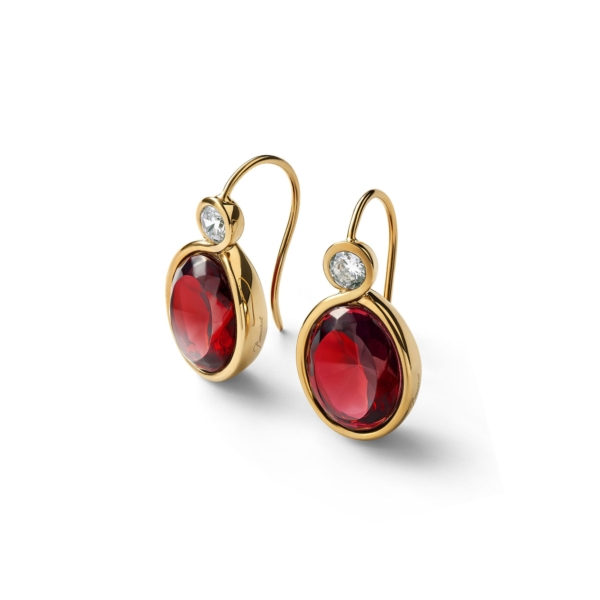 Croisé Vermeil Red Earrings
