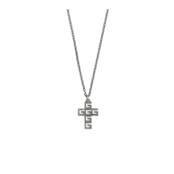 GUCCI G Quadro cross necklace
