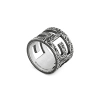 Ring with G Quadro motif in silver