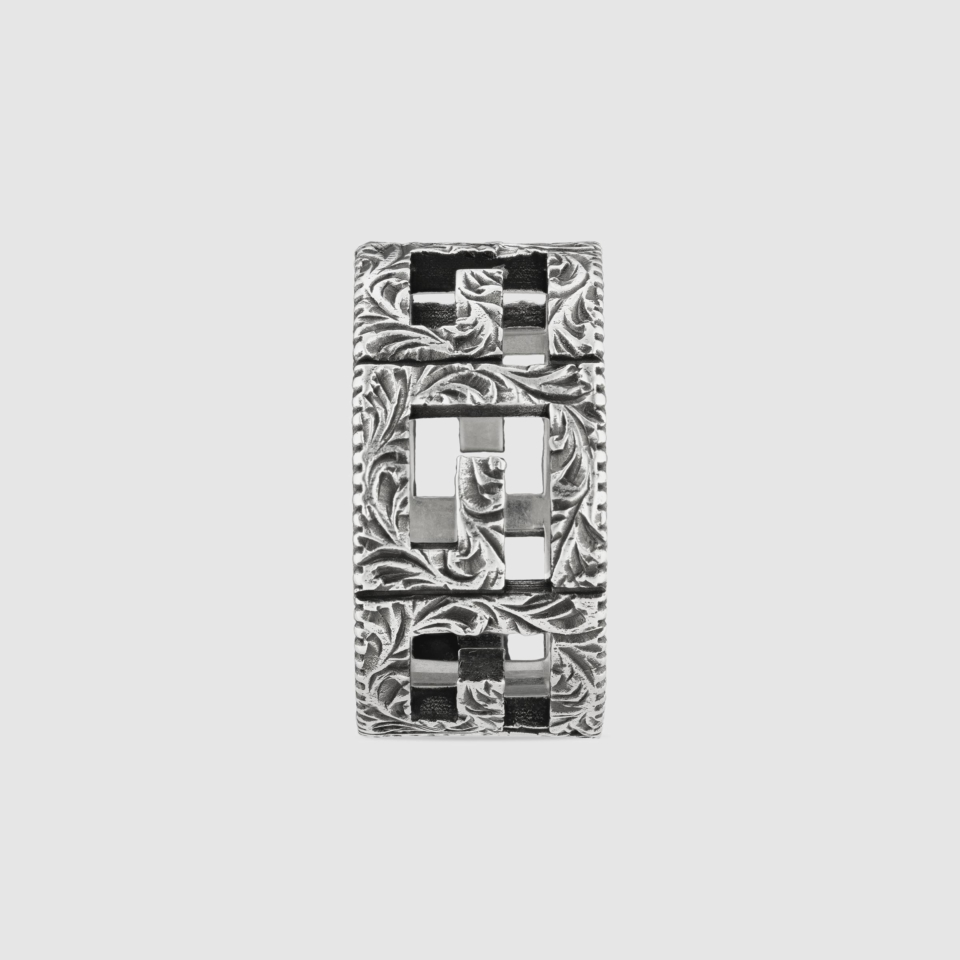 Gucci Ring with G Quadro motif in silver