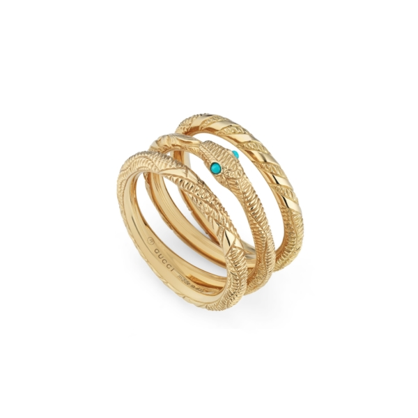 Ring with Ouroboros in yellow gold