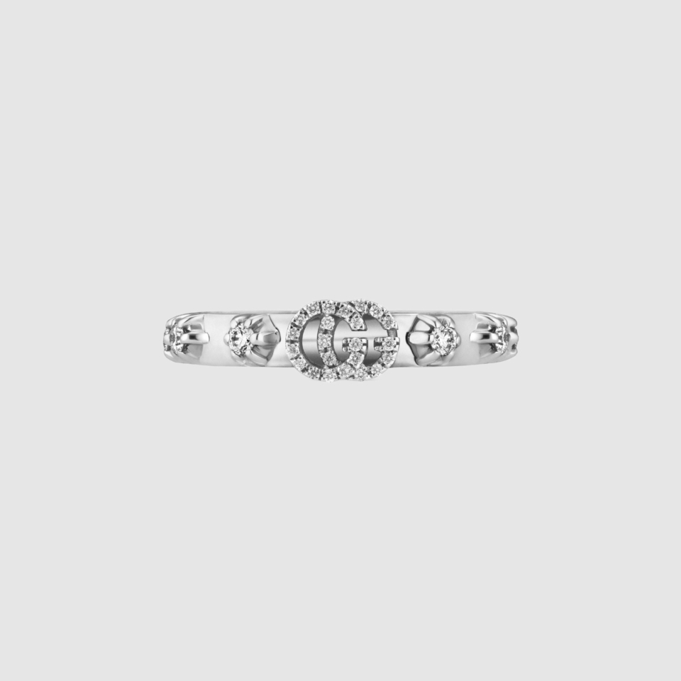 White gold ring with GG Running