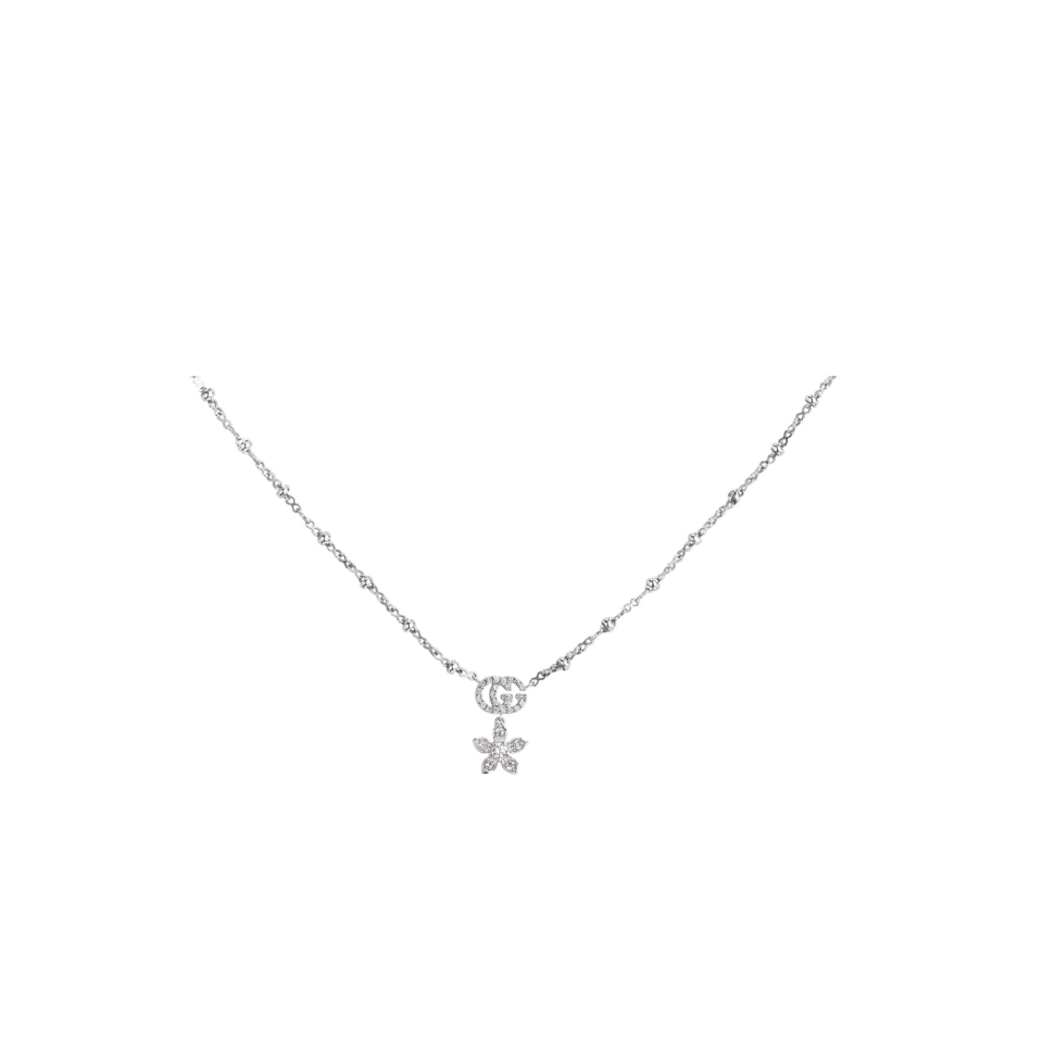 Flower and Double G necklace with diamonds