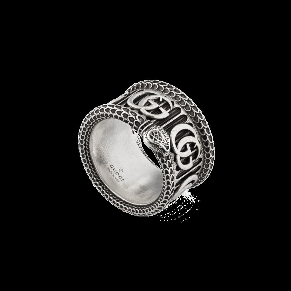 GUCCI Silver ring with Double Ganello gucci serpente sconto discount