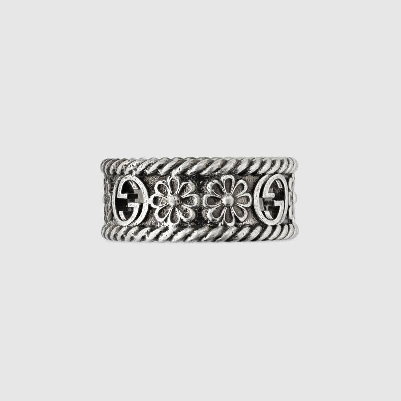 Interlocking G silver ring