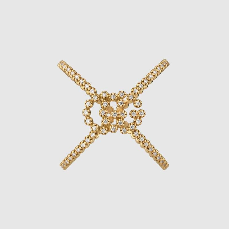 Anello GUCCI a X GG Running diamanti