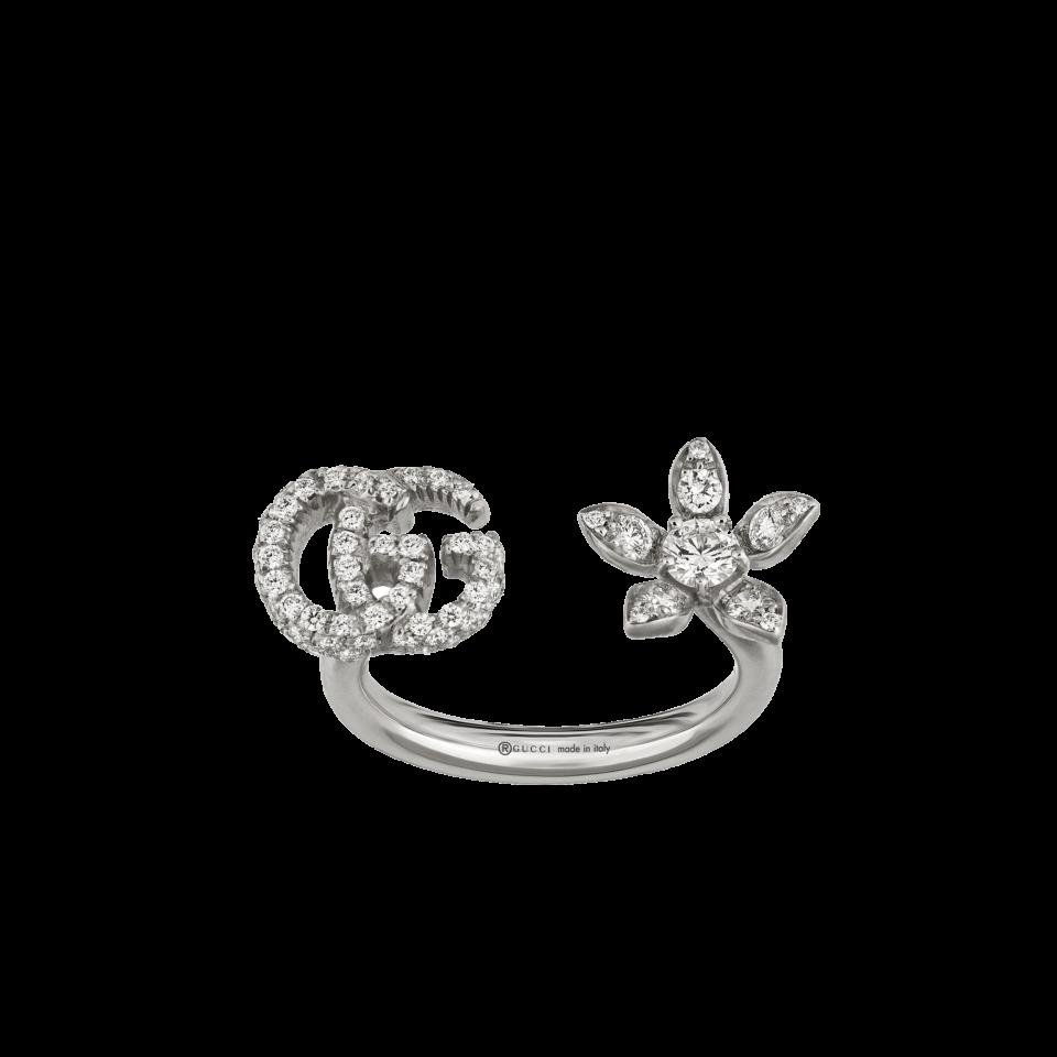 Anello GUCCI con fiore e Doppia G e diamanti