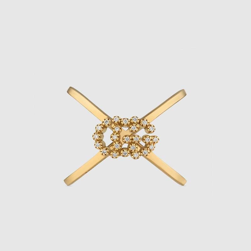 Anello Gucci forma di X GG Running con diamanti