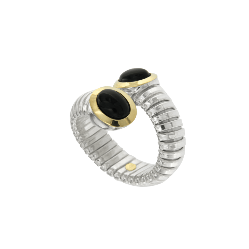 Contrariè ring in silver, gold and onyx