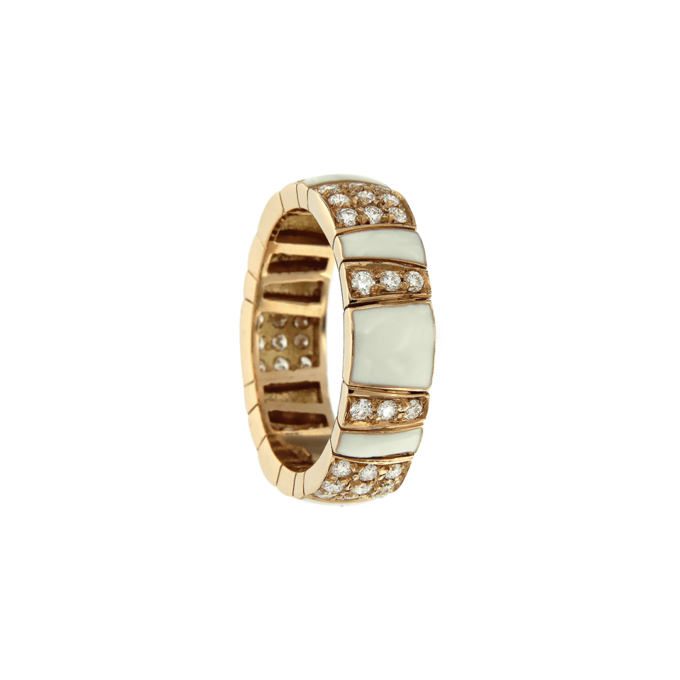 Los Angeles ring rose gold white enamel and diamonds