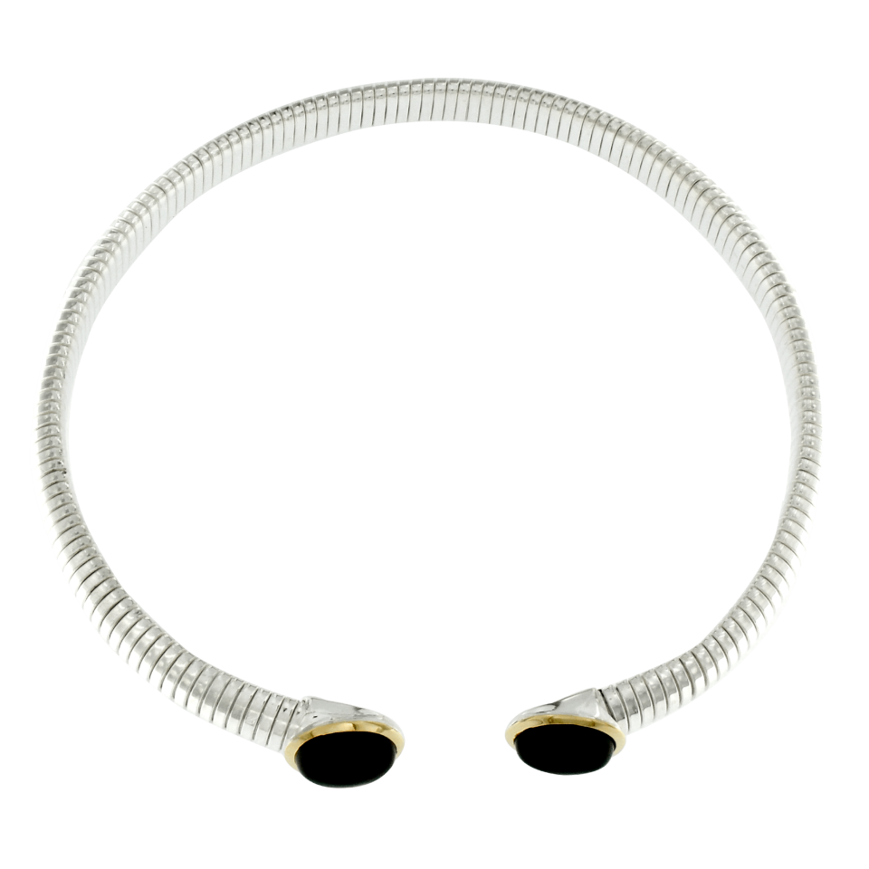 Tubogas necklace in silver gold finishes and onyx