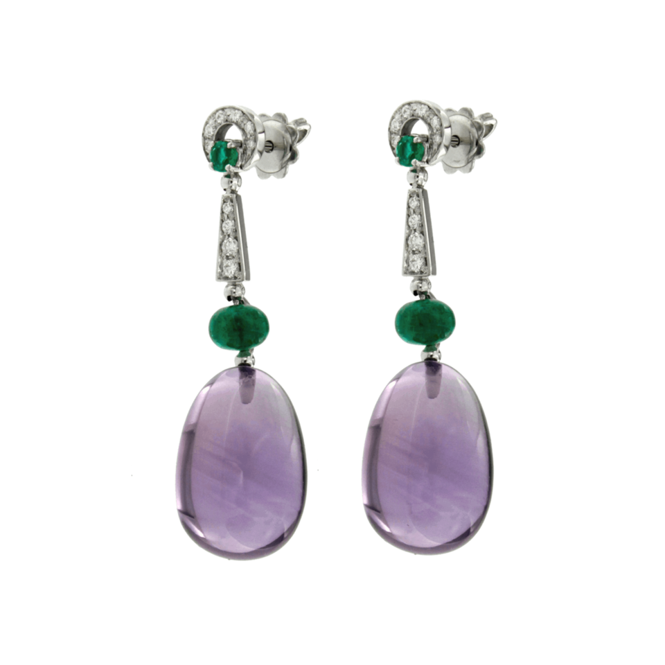 Orecchini ametiste cabochon smeraldi e diamanti