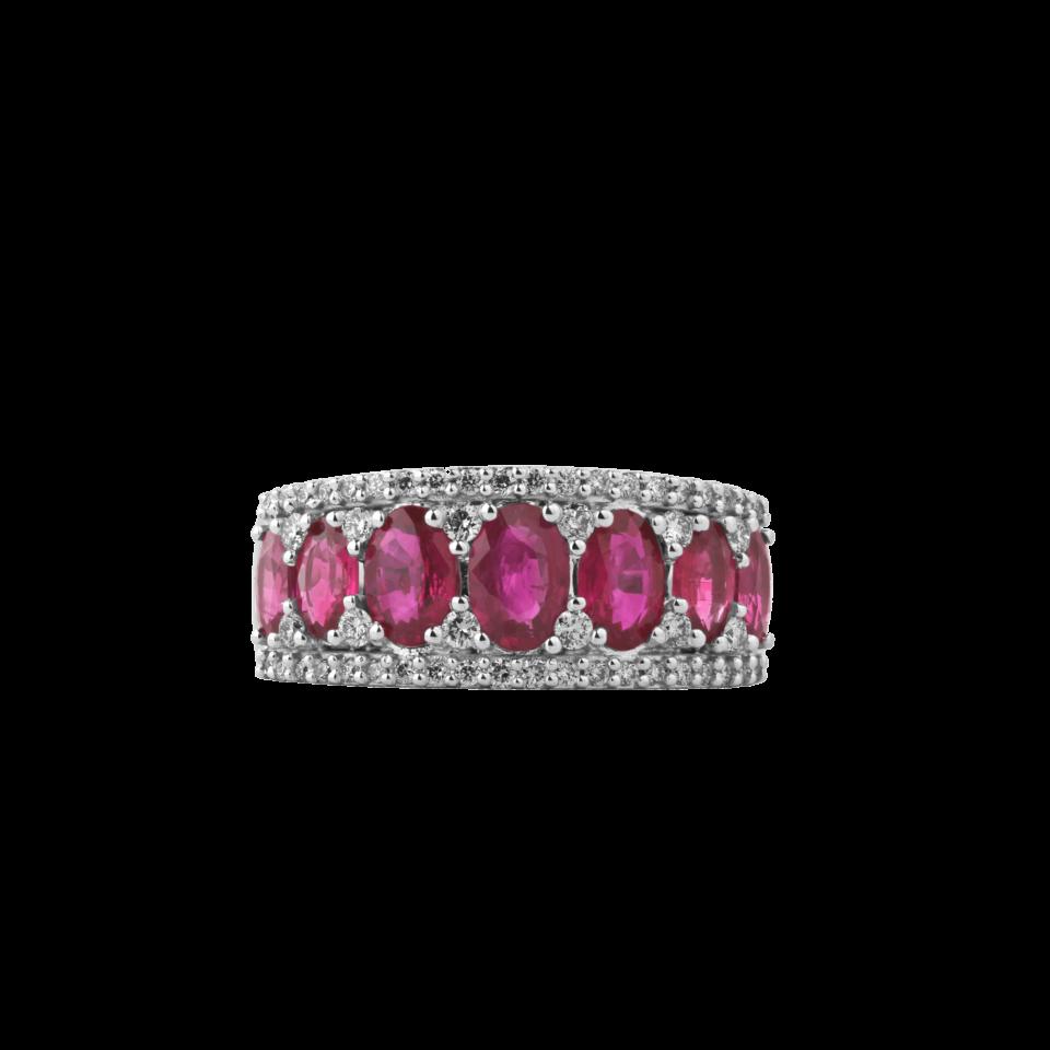 Bon ton ring white gold brilliant rubies