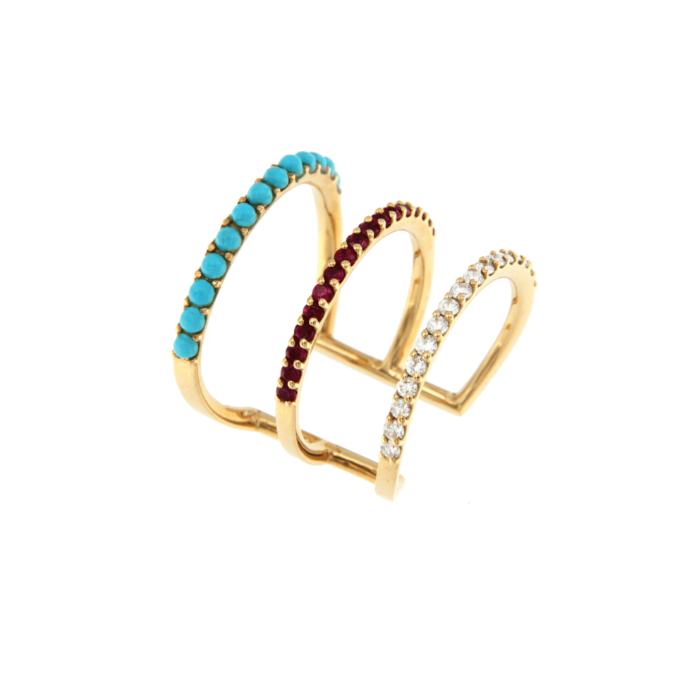 Bon Ton ring in rose gold, brilliant rubies and turquoise