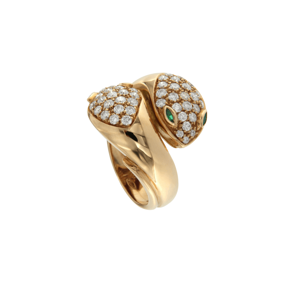 70's snakes ring in rose gold and diamonds