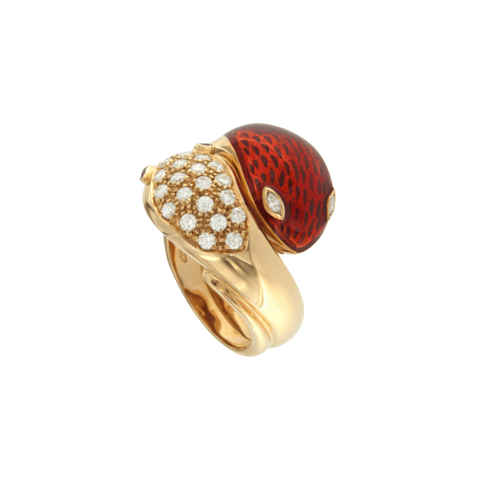 70's snake ring in rose gold with ancient enamel work