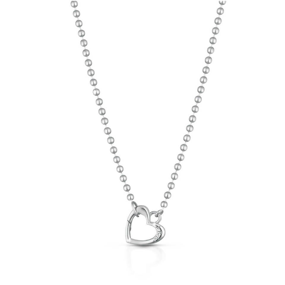 Collana e moschettone a forma di cuore in argento Le Bebè