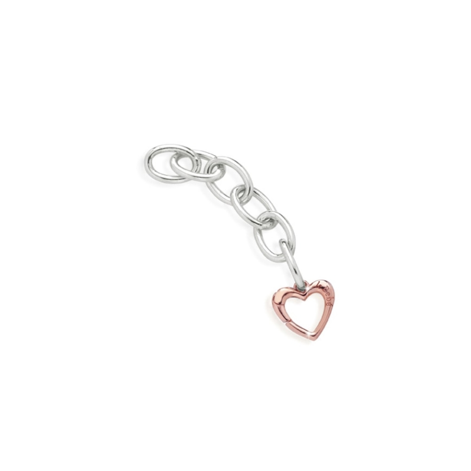 Silver links and rose gold heart-shaped carabiner in rose gold