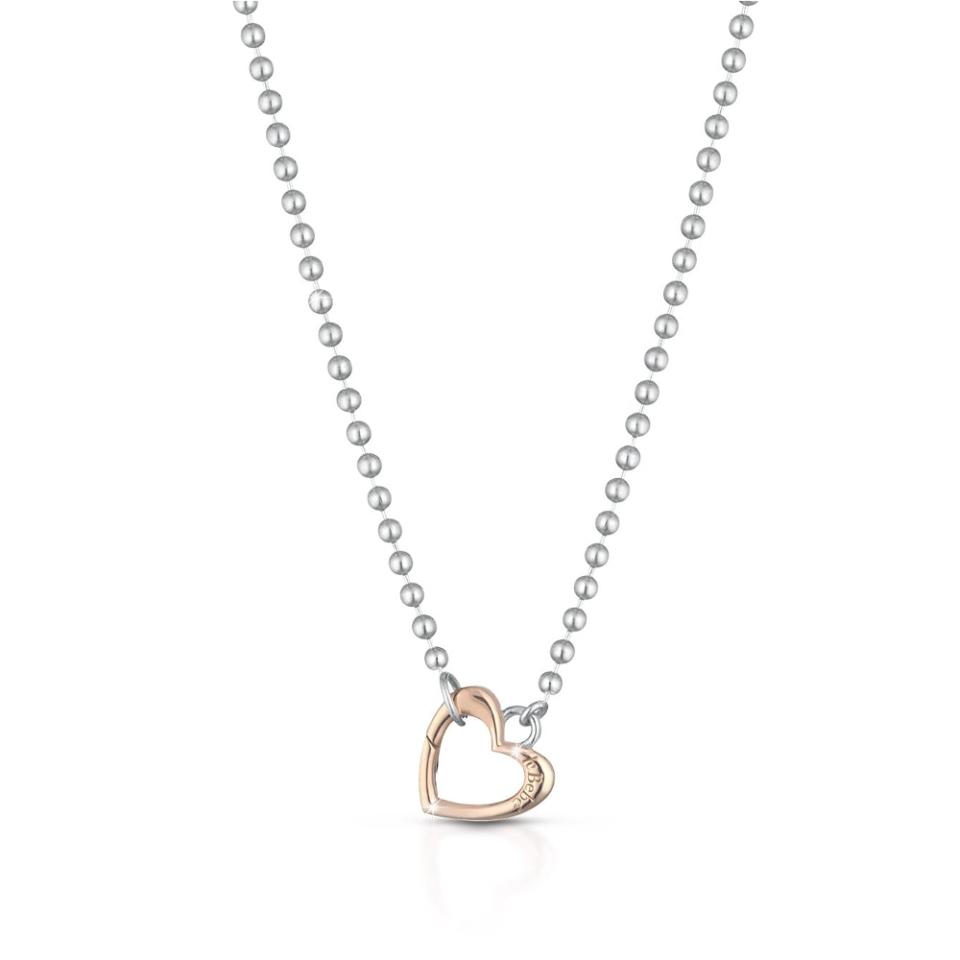 Silver necklace heart shaped snap hook rose gold Le Bebè