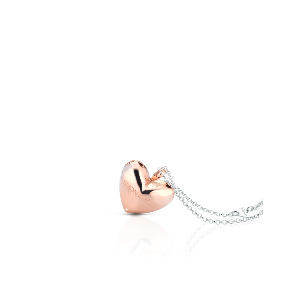 SILVER HEART AND CHAIN PENDANT Rose Glod Plated