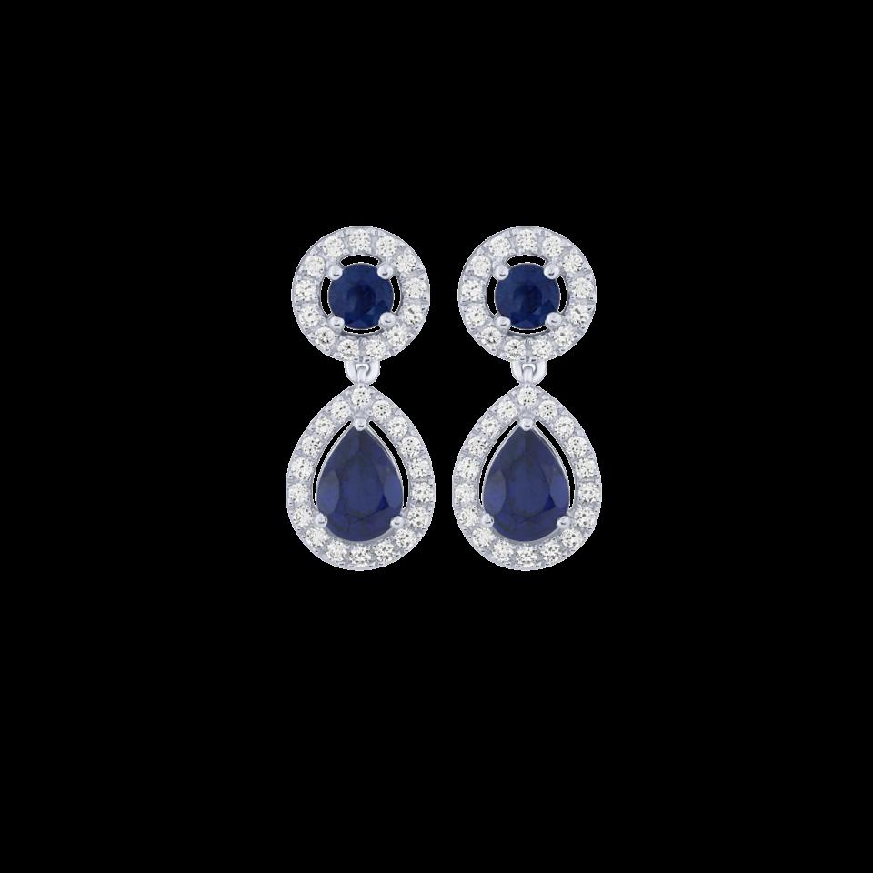 Sapphires and diamonds earrings