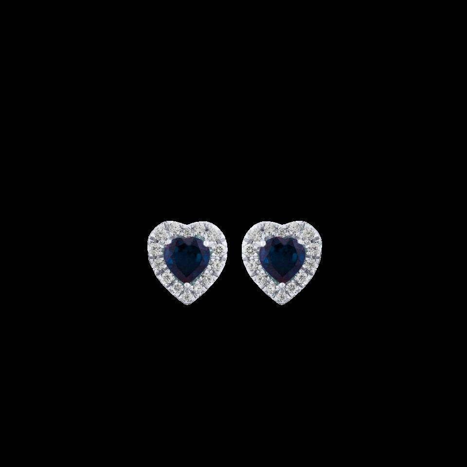 Orecchini Cuore diamanti e zaffiri