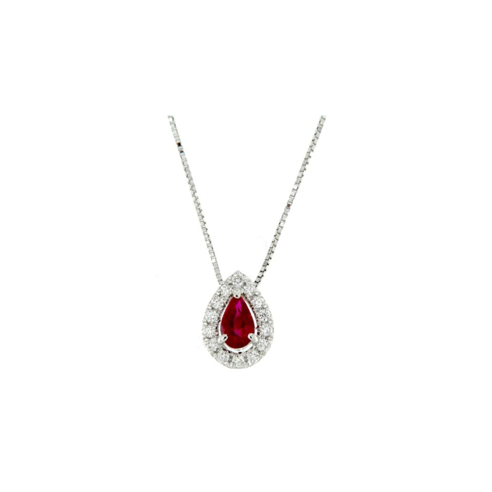 collana pendente rubino e diamanti diamonds ruby necklace Bon Ton online PGOC9R