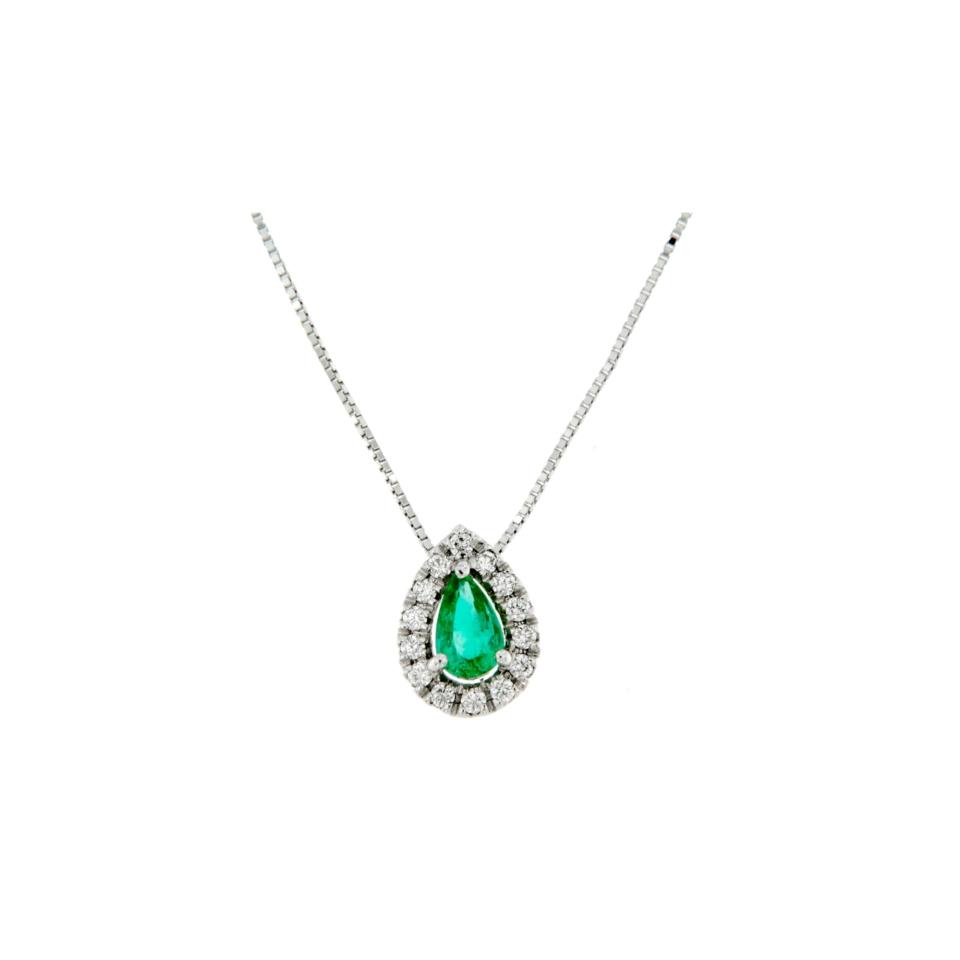 collana pendente smeraldo e diamanti diamonds emerald necklace Bon Ton online PGOC9S jewels