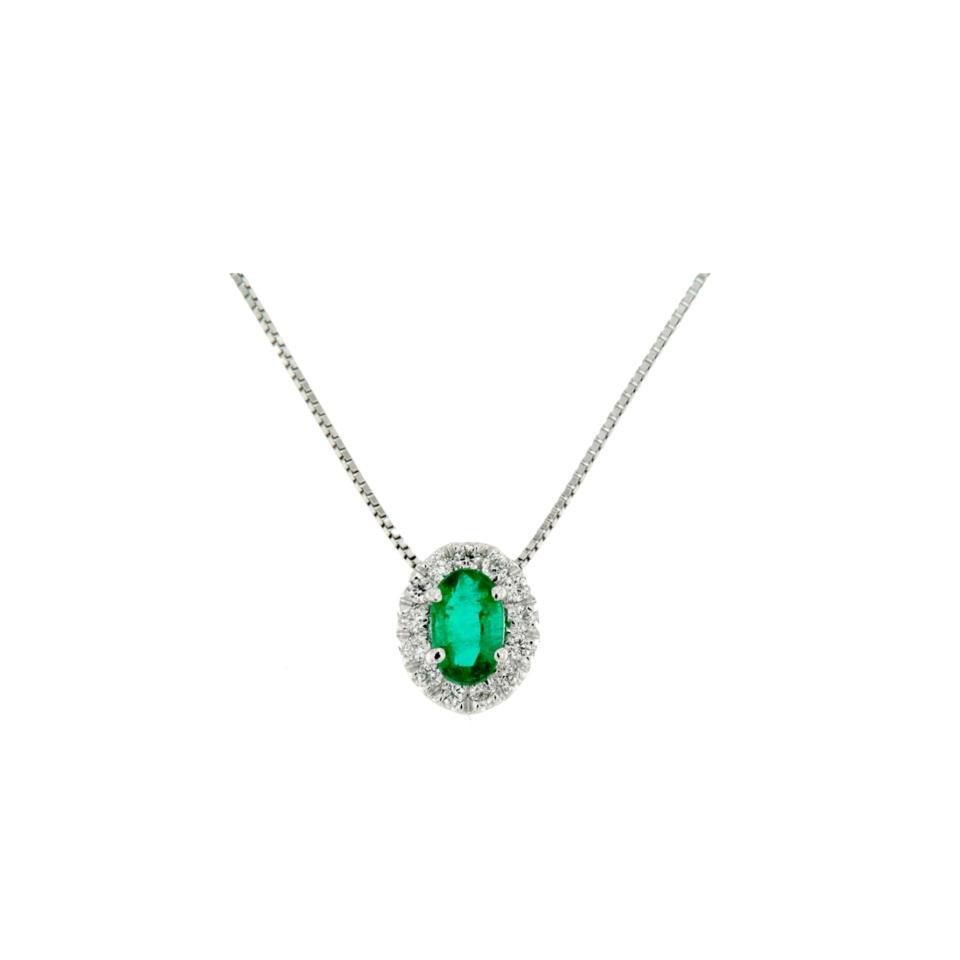 Jewels collana pendente smeraldo e diamanti diamonds smeraldo necklace Bon Ton online POVL9S