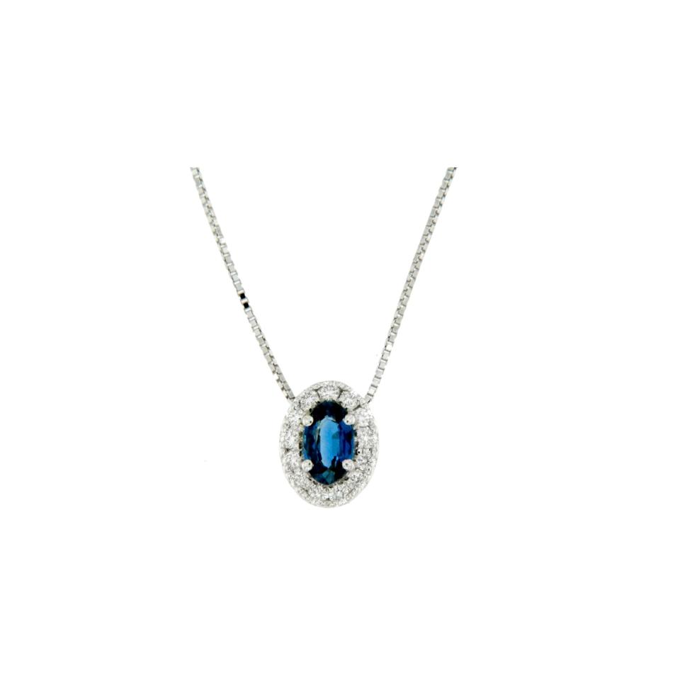 Jewels collana pendente zaffiro e diamanti diamonds sapphire necklace Bon Ton online POVL9Z