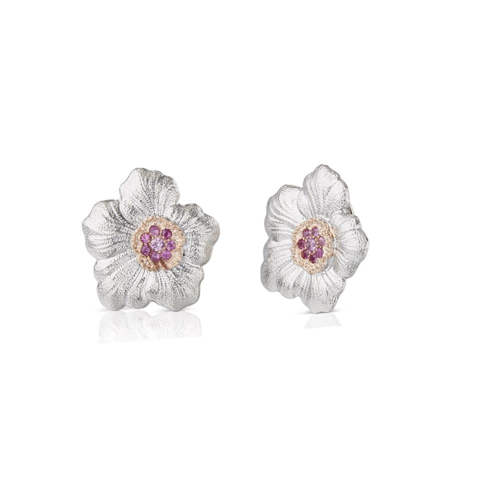 Orecchini Gardenia Buccellati zaffiri rosa