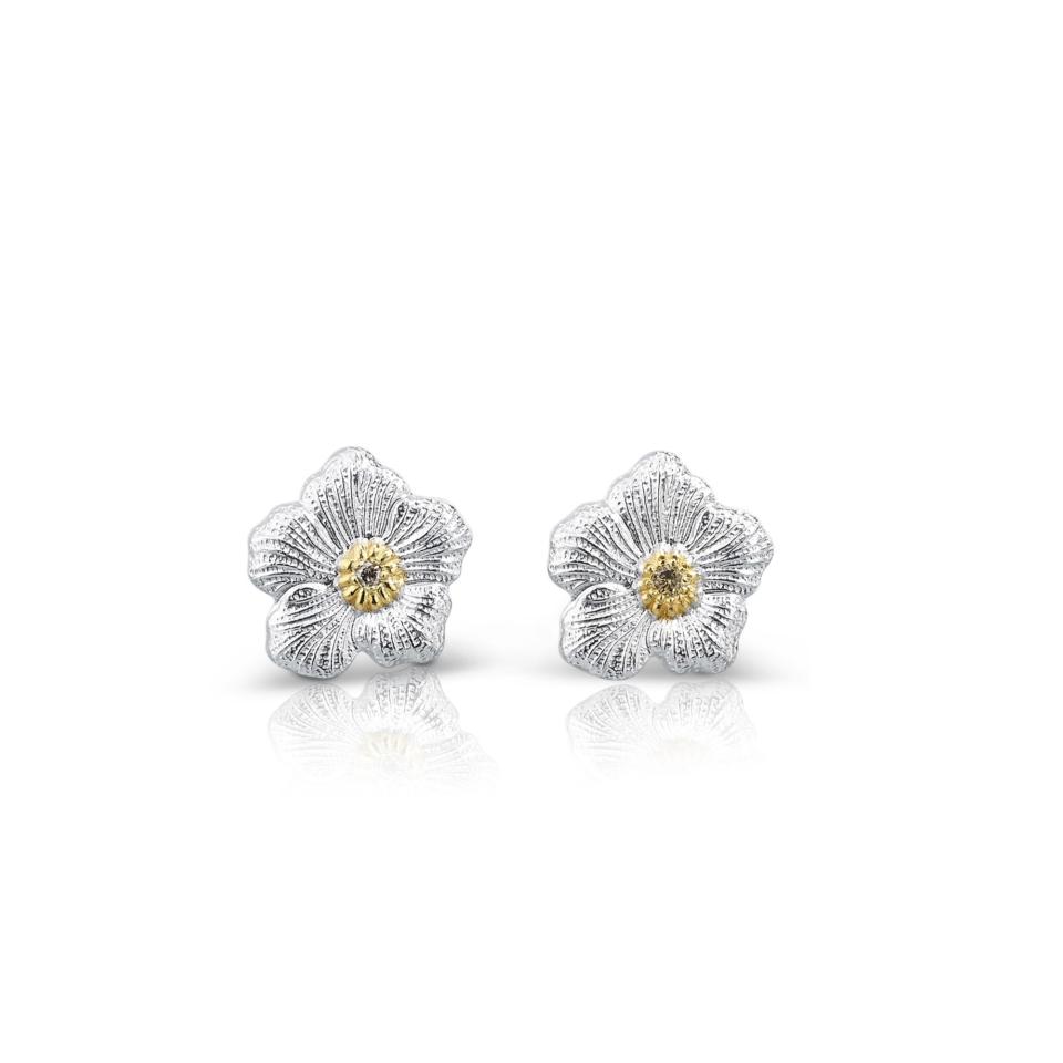 Orecchini piccoli Gardenia Buccellati diamanti brown