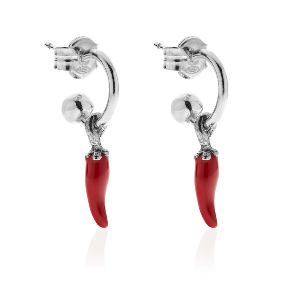 Small Circle Earrings with Mini Red Chilli Charm Dop Jewels