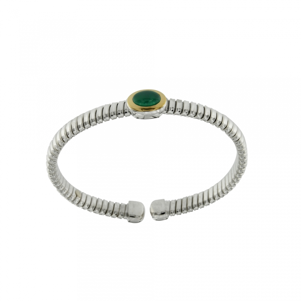 bracciale tubogas a molla in argento 925 con testina in oro 18ct e agata verde BRT026AV