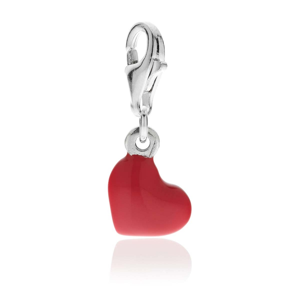 Heart Charm Silver and Enamels dop jewels