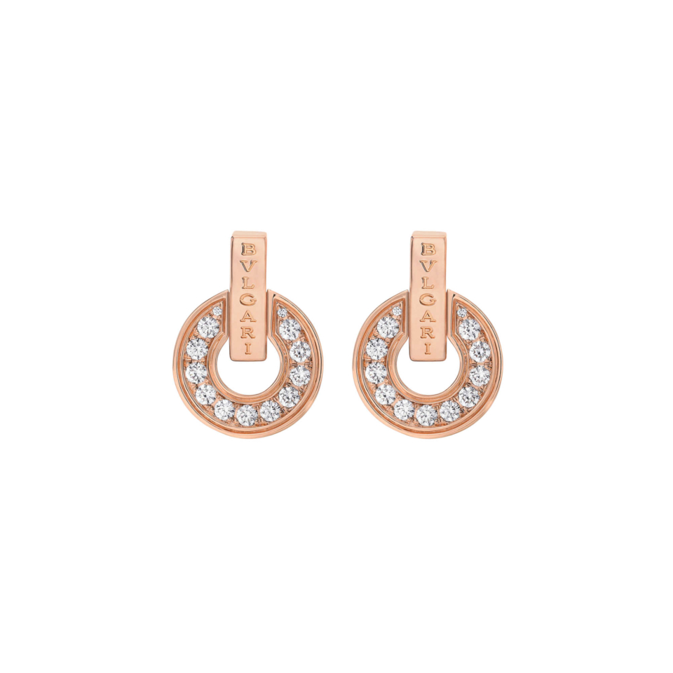Orecchini BVLGARI BVLGARI Openwork in oro rosa 18 kt con pavé di diamanti