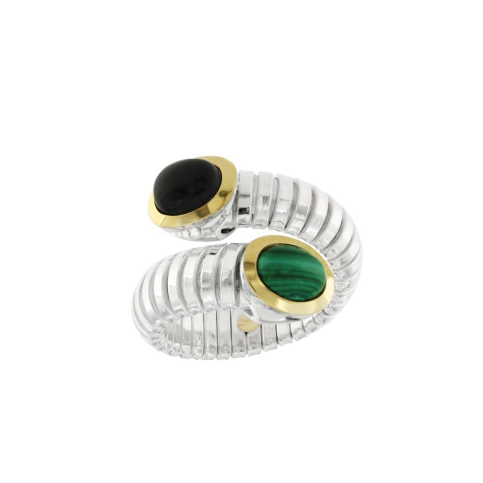 Silver ring onix malachite anello-tubogas-argento-onice-malachite-ANT027malon-discount